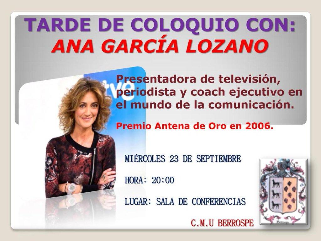 Coloquio Ana García Lozano 1